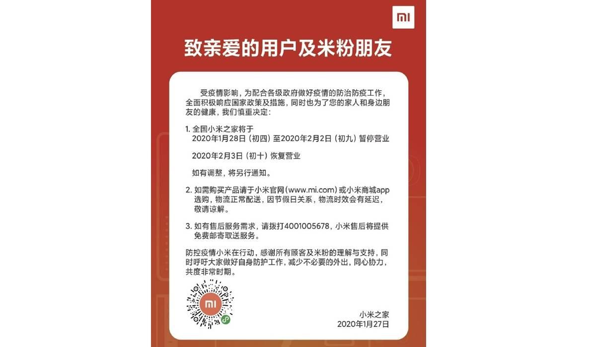 Comunicado de Xiaomi ante el Coronavirus