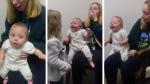 Bebé ríe de felicidad al escuchar por primera vez las voces de su madre y hermana mayor - Noticias de hoy